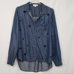 Anthropologie Cloth & Stone Blue Top w Stars Sz L